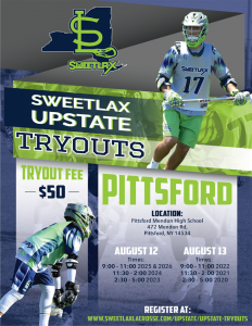 Registration open for @Sweetlax_Lax Upstate NY tryouts at Pittsford Mendon on Aug. 12-13