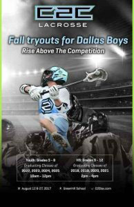 .@c2clax holding Dallas boys tryouts at Greenhill School on Aug. 12, Aug. 27