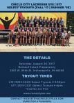 .@CircleCityLax (IN) holding girls' club tryouts on Aug. 26 in Indianapolis